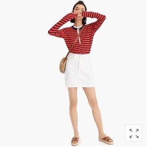 NWT J. Crew white denim mini skirt size 27